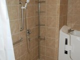 Wet Room with Grab Bars, Hand Held Shower Sprayer and Walk in Bath Tub